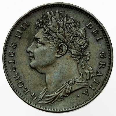 1822 Farthing D/D in DEF Error Rare ~ George IV
