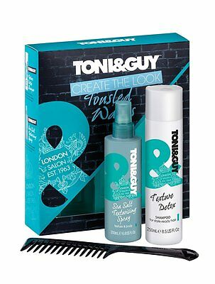 Toni & Guy Tousled Waves 3pc Gift Set ( salt spray 200ml, shampoo 250ml, comb)