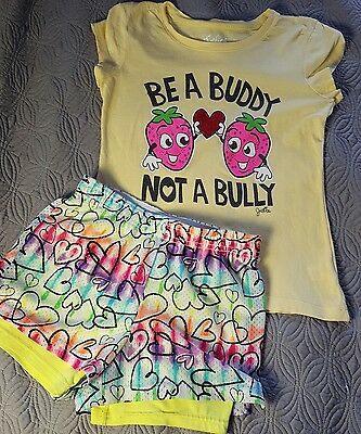 JUSTICE girls size 8 summer tee & shorts outfit- fun!