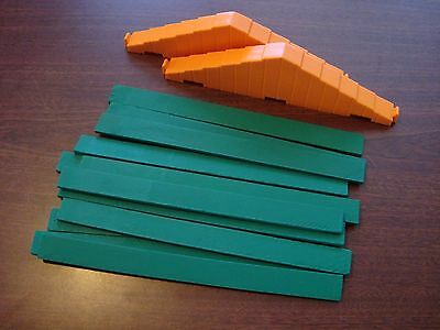 "Vintage Lincoln Logs GREEN 9"" Roof Slats LOT of 12 With 2 Supports"
