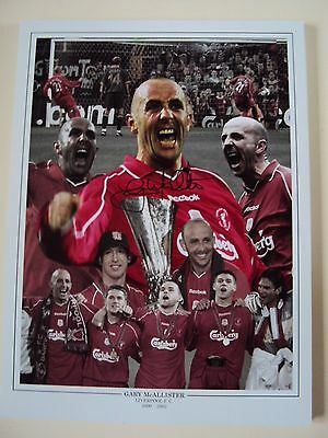 HAND SIGNED 16x12 MONTAGE GARY MCALLISTER LIVERPOOL 2001 LEGEND LIMITED *PROOF*