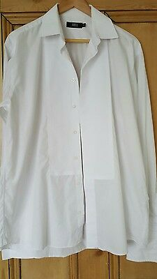 Mens white size 16 collar cotton evening shirt with double cuffs