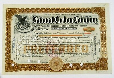 1911 National Carbon Company Stock Certificate