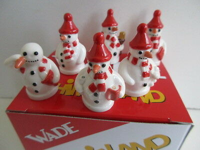 Set Of Wade Snowmen Whimsies Red  Version Perfect And Boxed