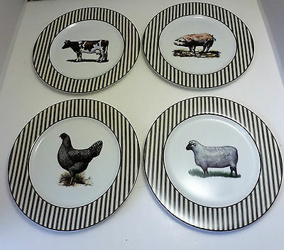 """Dept. 56 Farms Collection 8"""" Salad Plates - Cow Pig Rooster Sheep -  Set Of 4"""