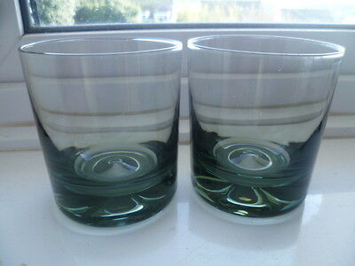 2 Vintage Dartington Glass Midnight Double Old Fashioned Dimple Whisky Tumblers