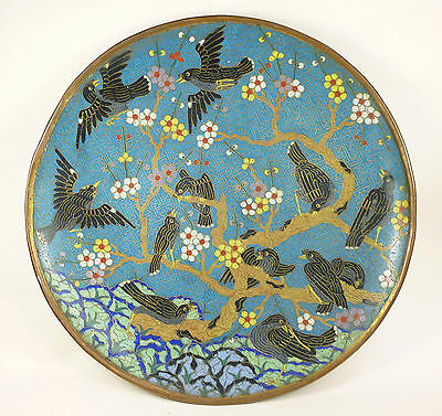 Antique Chinese 19th Century Cloisonne Enamel Magpie Charger Prob Jiaqing Period