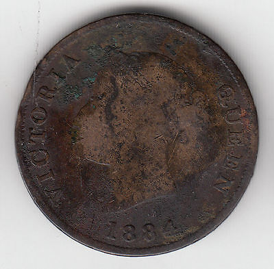 Cyprus 1/2 Piastre 1884 Damaged Copper Scarce    26S             By Coinmountain