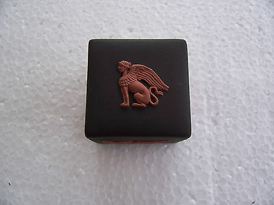 Wedgwood Black jasperware Square box with Egyptian relief, excellent condition.