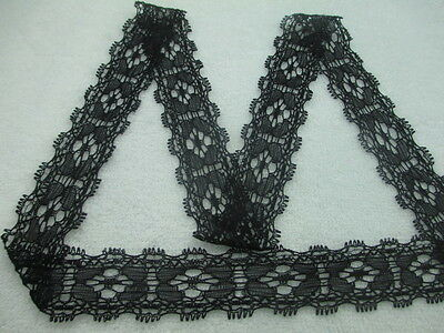 Beautiful! Stretch lace embroidery Trimmings black 10 yards free shipping