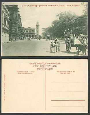 Ceylon Old Postcard Queen St. Street Lighthouse Entrance to Queens House Colombo