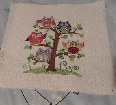 Completed Cross Stitch 5 Colourful Owls Sitting On A Tree Unframed