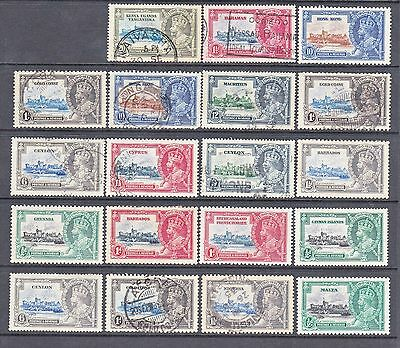 Selection of KGV Commonwealth 1935 Silver Jubilee x 19 single stamps MH & USED