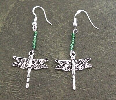Hand Crafted Earrings Silver Dragon Fly w Green Beads