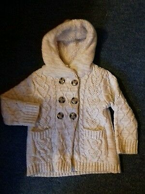 Lovely cosy beige hooded lined knitted jacket in v good condition -fit 12-18mths