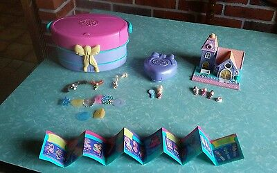 lot polly pocket bluebird +personnages +1 dépliant collection polly pocket