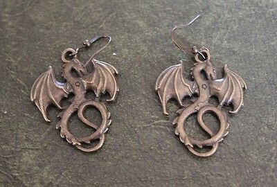Hand Crafted Earrings Handsome Bronze Dragons