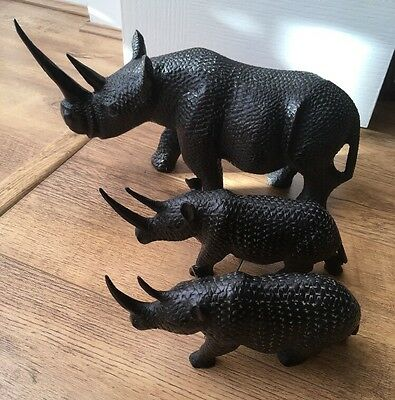 Vintage Wooden Hand Carved Rhino's