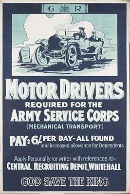 Ww1 (Royal) Army Service Corps Motor Drivers Required British Army New A4 Print