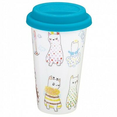Paperchase Fine Porcelain Cat Take Out Cup Flask