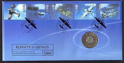 1997 Flights of Genius Royal Mint stamp and coin cover