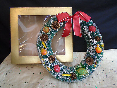 Bottle Brush Wreath  Fruit & Pine Cones W/box  8""