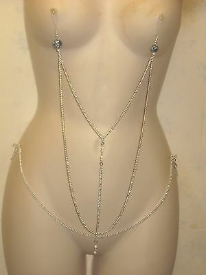 Non Piercing Double  Nipple Chain W/ Attached Waist Or Hip  Chain