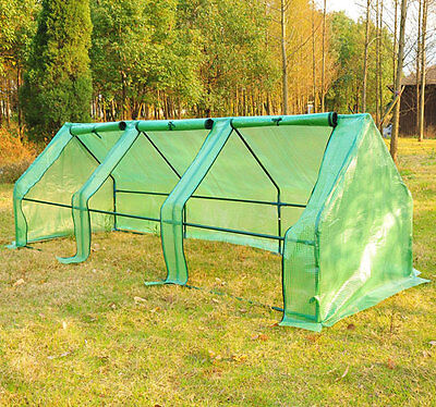 New 2.7M Steeple Polytunnel Greenhouse Poly Tunnel Green Hot House Steel Frame