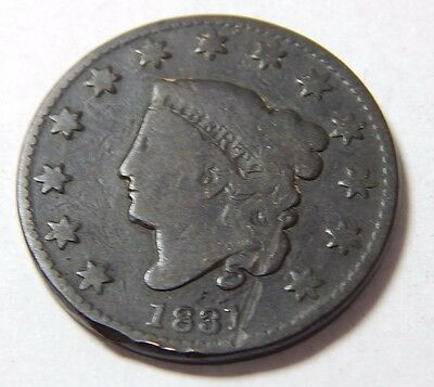 1831 Copper US Large Cent Coin