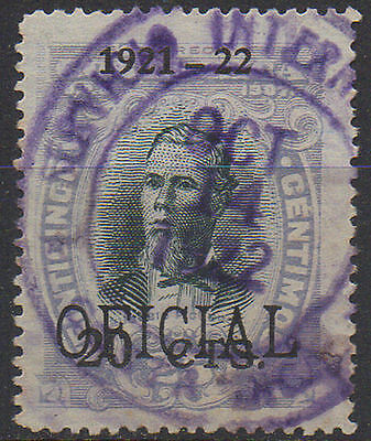 """1908, Costa Rice Official o/printed """"1921-22 20 CTS"""" Scott O62"""