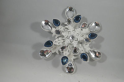 Metal Blue and Silver Gem Glitter Snowflake Christmas Tree Ornament new holiday