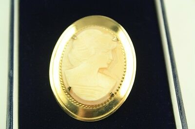 Vintage Carved Cameo Shell Portrait On Gold Plated Mount Brooch By Ward Bros