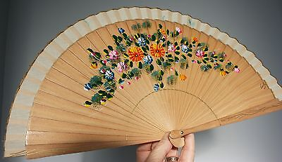 Vintage Oriental Hand Painted Pierced Wooden Hand Fan - Painted Both Sides