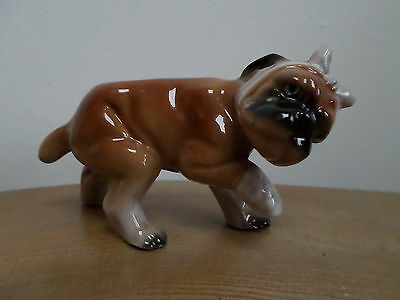 VINTAGE PORCELIAN BOXER DOG FIGURINE with bandaged poorly paw and head,Japan