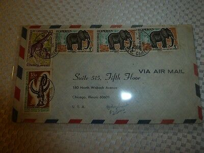 Cameroon Elephant/Giraffe on A/M cover to USA (44beb)