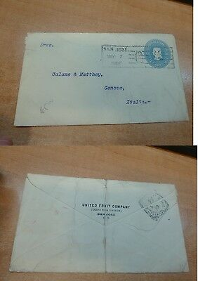 Costa Rica PSE 10c 1908 from United Fruit Company to Italy (4bec)