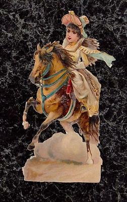 Young Woman on Galloping Horse Victorian Die Cut Scrap 4.75x2.25 Repairs Residue