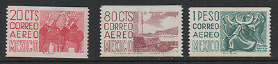 Mexico, Air Stamps 3 values to 1p green with 2 imperf sides unmounted mint.