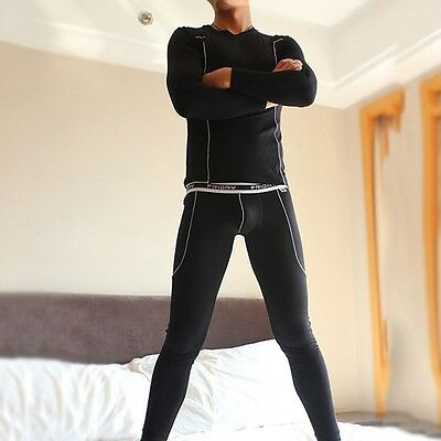 Men's Thermal Underwear Set Long Sleeve & Long Johns Bamboo Fiber Sleepwear Hot
