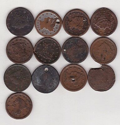 Lot Of Thirteen Cull Large Cents