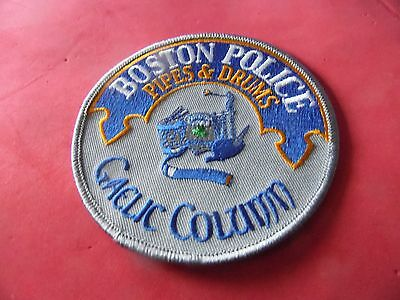 Boston Mass. Police patch  Pipes & Drums Gaelic Column novelty