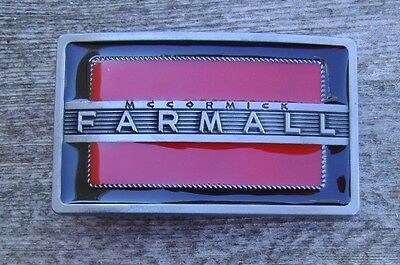 McCormick Farmall Tractor Belt Buckle Antique Silver With Red / Black Enamel NEW