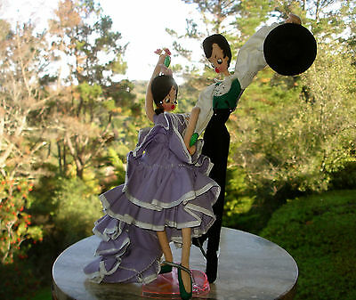 Vintage Ethnic Dolls Spanish Flamingo Dancers Lot of 2 Connected w/Stands