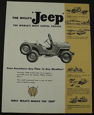 1954 1955 Willys Jeep 4 Wheel Drive Truck Sales Brochure Overland