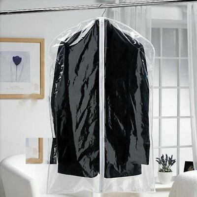 2 Strong Clear See Through Moth Proof Plastic Suit Clothes Garment Covers Bags