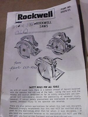 Vintage Rockwell Manual For Model 346 &  315Saws