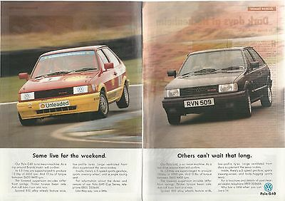 1993 VOLKSWAGEN POLO G40 2-page advertisement, British advert, VW rally & stock