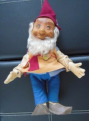 "Vintage Steiff ""gucki"" Gnome Tag And Buttons 1950's 12"" Tall"