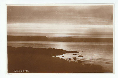 Evening River Clyde Real Photograph Scotland Old Postcard Postally Unused