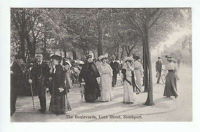 Group Of People The Boulevards Lord Street Southport Pre 1914 Boots Cash Chemist